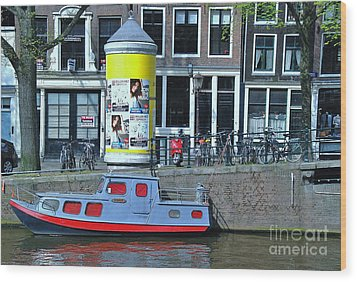 Wood Print featuring the photograph Docked In Amsterdam by Allen Beatty