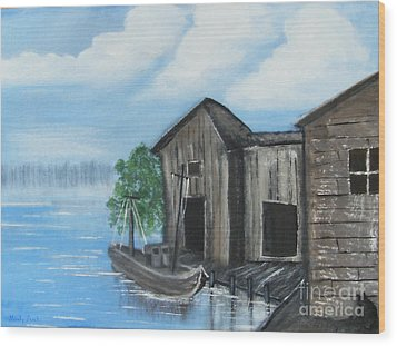 Wood Print featuring the painting Docked At Bayou by Mindy Bench