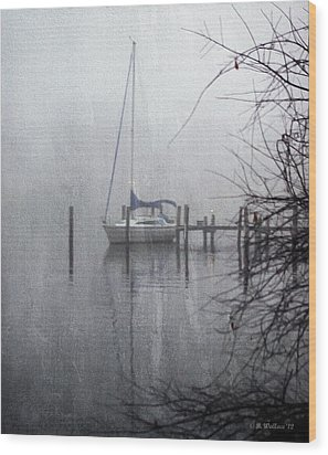 Docked In The Fog - Texture Effect Wood Print by Brian Wallace