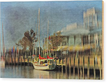 Docked Wood Print by Kathy Jennings