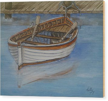 Docked Rowboat Wood Print by Kelly Mills
