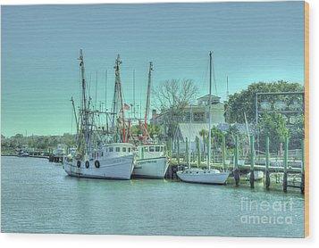 Docked Shrimp Boats Wood Print