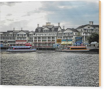 Docking At The Boardwalk Walt Disney World Wood Print by Thomas Woolworth