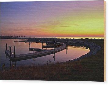 Docks At Sunrise Wood Print by Jonah  Anderson