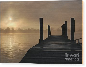Dockside And A Good Morning Wood Print by Randy J Heath