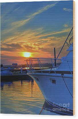 Dockside Sunset Wood Print by Kathy Baccari