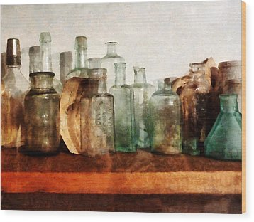 Doctor - Row Of Medicine Bottles Wood Print by Susan Savad