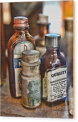Doctor The Mercurochrome Bottle Wood Print by Paul Ward