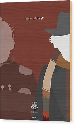 Doctor Who 50th Anniversary Poster Set Fourth Doctor Wood Print by Jeff Bell