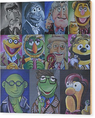 Doctor Who Muppet Mash-up Wood Print by Lisa Leeman