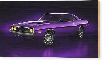 Wood Print featuring the digital art Dodge Challenger Hemi - Shadow by Marc Orphanos