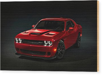 Dodge Challenger S R T Hellcat Wood Print by Movie Poster Prints