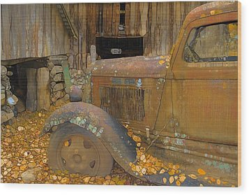 Dodge Truck Autumn Abstract Wood Print by Dan Sproul