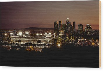 Dodger Stadium At Dusk Wood Print