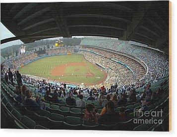 Dodger Stadium Wood Print by Micah May