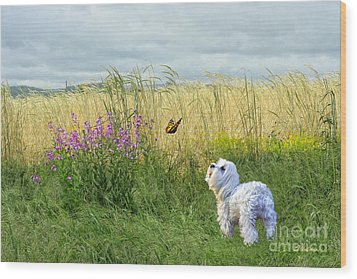 Dog And Butterfly Wood Print