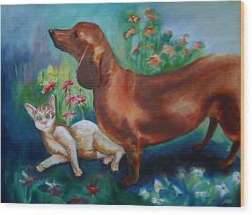 Dog And Cat In The Garden Wood Print