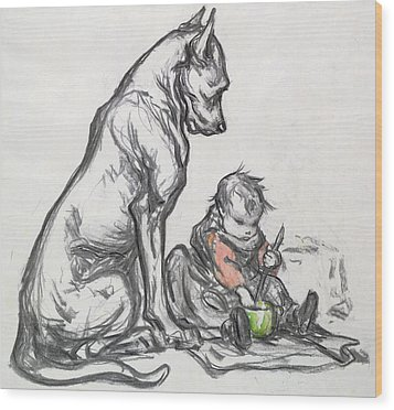 Dog And Child Wood Print by Robert Noir