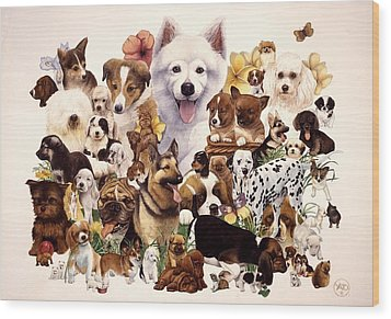 Dog And Puppies Wood Print by John YATO