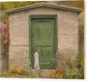 Dog At The Door Wood Print