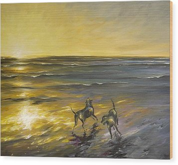 Wood Print featuring the painting Dog Beach by Dina Dargo