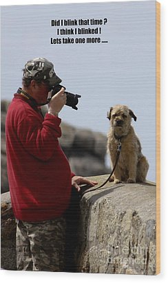Dog Being Photographed Wood Print by Terri Waters