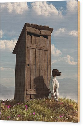 Dog Guarding An Outhouse Wood Print