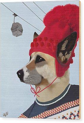 Dog In A Ski Jumper Wood Print by Kelly McLaughlan