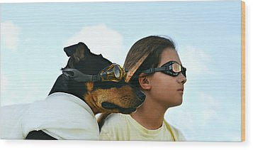 Dog Is My Co-pilot Wood Print by Laura Fasulo