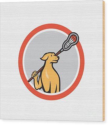 Dog Lacrosse Player Crosse Stick Cartoon Circle Wood Print by Aloysius Patrimonio