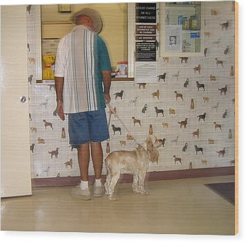 Dog Owner Dog Vet's Office Casa Grande Arizona 2004 Wood Print by David Lee Guss