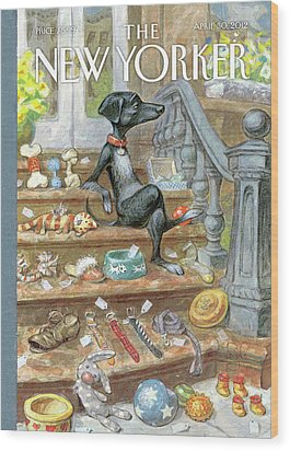 Dog Sitting On The Porch Of A Brownstone Selling Wood Print by Peter de Seve
