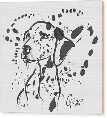 Dog Spot Wood Print by Go Van Kampen