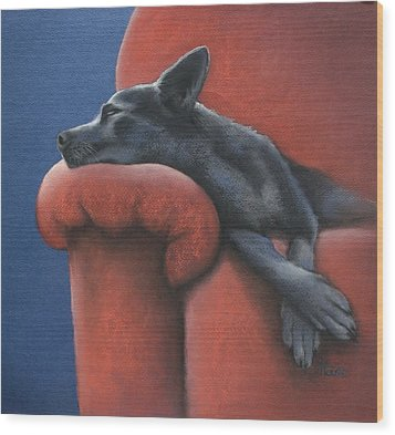 Dog Tired Wood Print by Cynthia House
