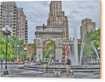 Dog Walking At Washington Square Park Wood Print by Randy Aveille