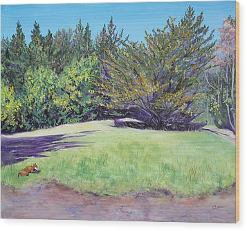 Dog With Bone In Spring Meadow Wood Print