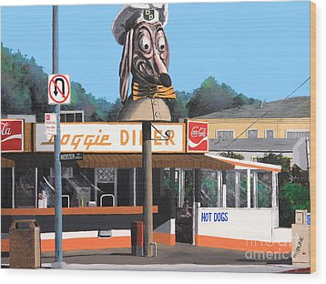 Doggie Diner 1986 Wood Print by Wingsdomain Art and Photography