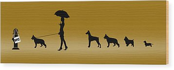 Doggie Queue Wood Print by Peter Stevenson