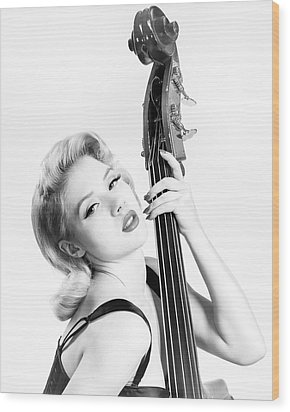 Doghouse Portrait Of Mosh - Double Bass Wood Print by Gary Heller