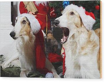 Wood Print featuring the photograph dogs Borzoi puppies and Christmas greetings by Christian Lagereek