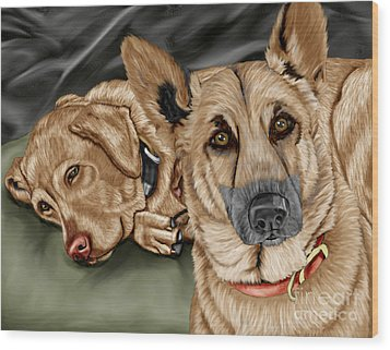 Dogs Wood Print by Karen Sheltrown