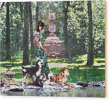 Dogs Lay At Her Feet Wood Print by Steve Karol