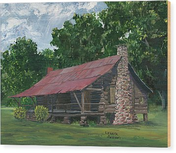 Wood Print featuring the painting Dogtrot House In Louisiana by Lenora  De Lude