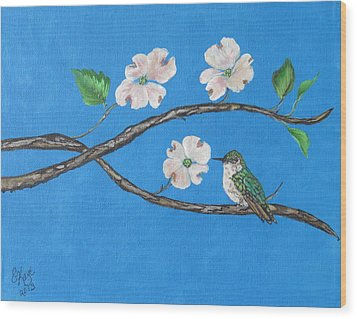 Wood Print featuring the painting Dogwood And Hummingbird by Ella Kaye Dickey