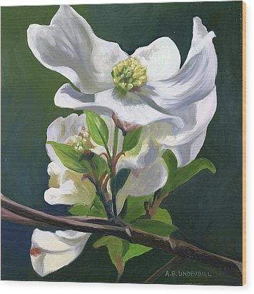 Wood Print featuring the painting Dogwood Blossom by Alecia Underhill