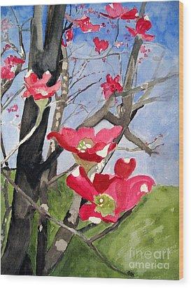 Dogwood Flowers Wood Print by Sandy McIntire