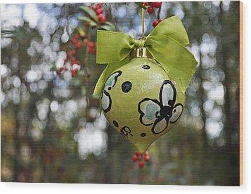 Dogwood Majolica Maiolica Ornament Wood Print by Amanda  Sanford