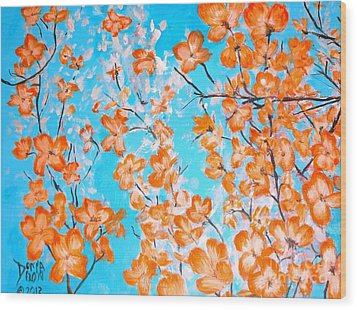 Wood Print featuring the painting Dogwoods by Donna Dixon