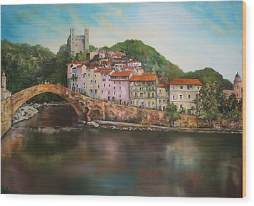 Wood Print featuring the painting Dolceacqua Italy by Jean Walker