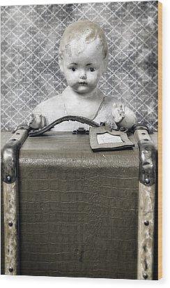 Doll In Suitcase Wood Print by Joana Kruse